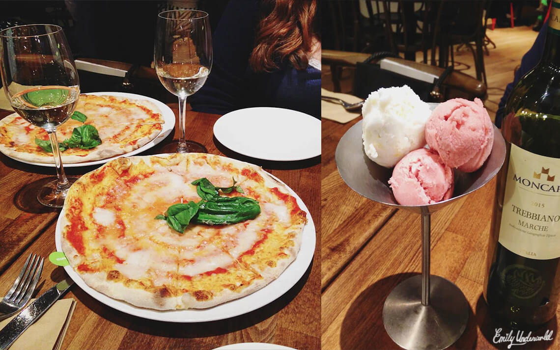 Zizzi vegan pizza and sorbet