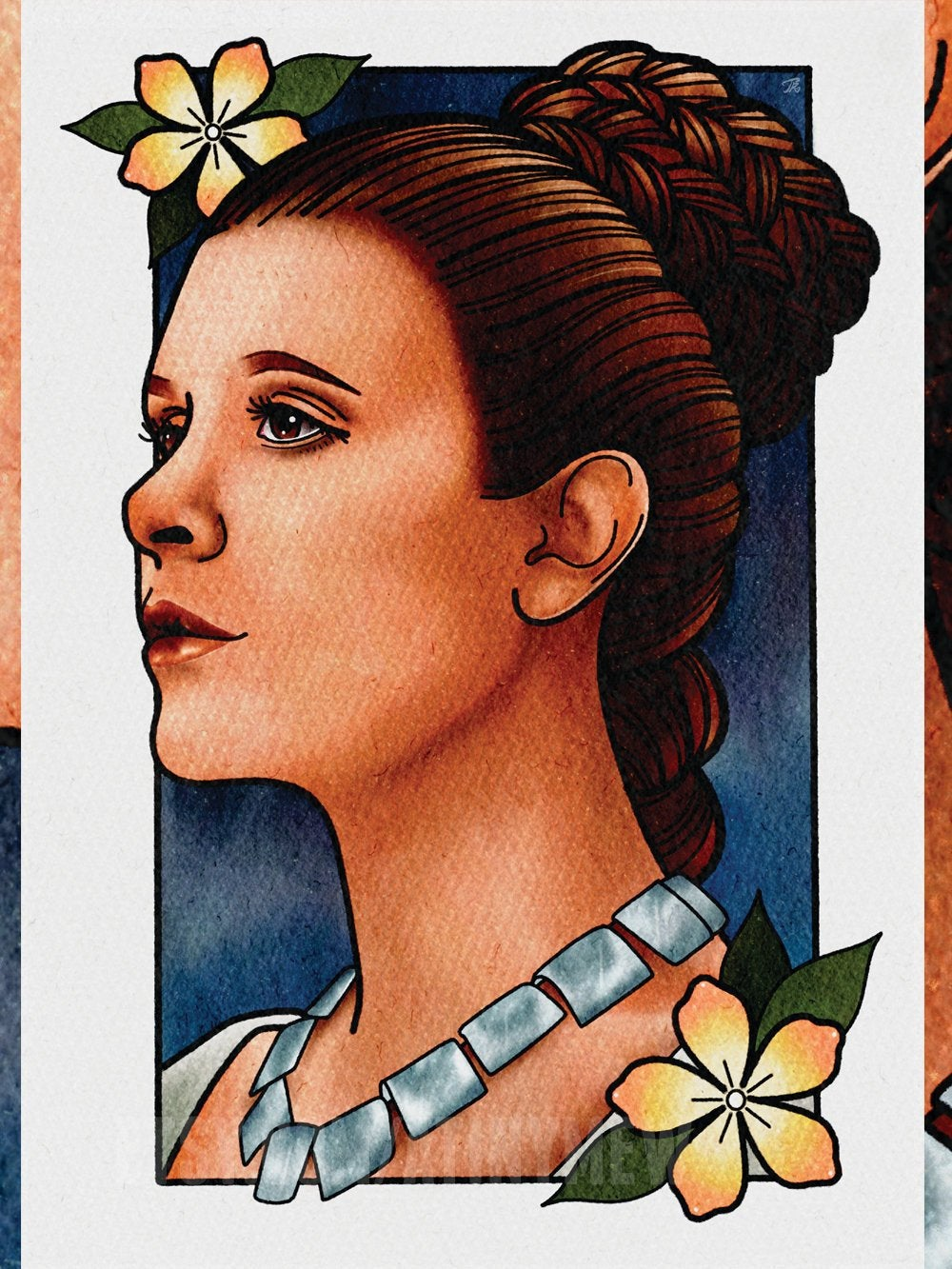 Tattoo Style illustrated art print featuring Princess Leia from Star Wars.